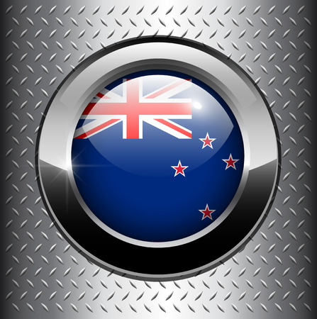 Flag of New Zealand button on metal background  Vector