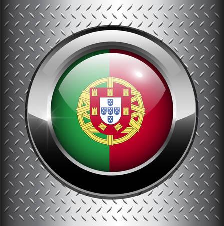 drapeau portugal: Bouton de drapeau du Portugal sur fond de m�tal
