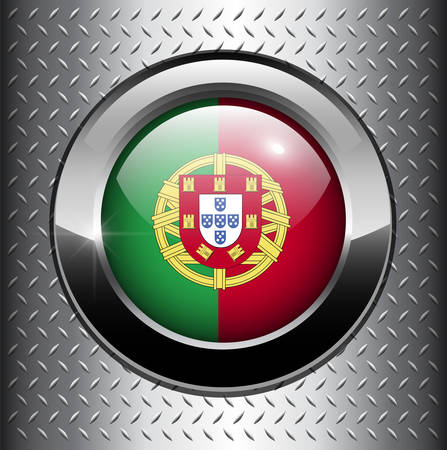 Portugal flag button on metal background  Vector