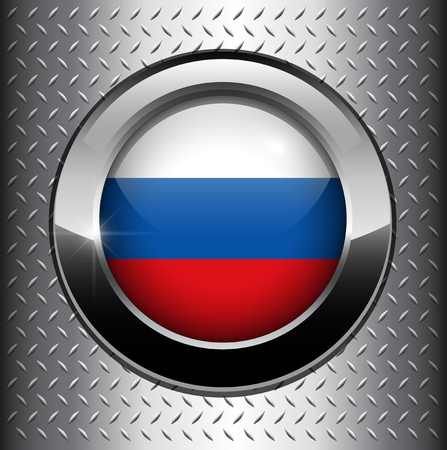 federation: Russian Federation flag button on metal background