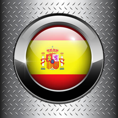 Flag of Spain, Spanish flag button on metal background  Vector