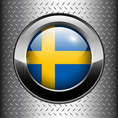 Flag of Sweden, swedish flag button on metal background  Vector