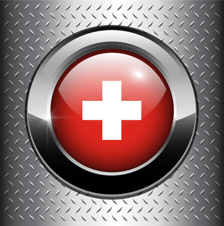 Suisse flag button on metal background  Vector