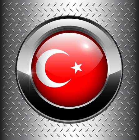 Turkey flag button on metal background  Vector