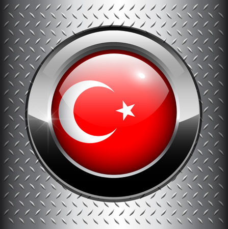 Turkey flag button on metal background Stock Vector - 8290708