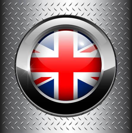bandera de reino unido: Bot�n de bandera del Reino Unido de Gran Breta�a sobre fondo de metal