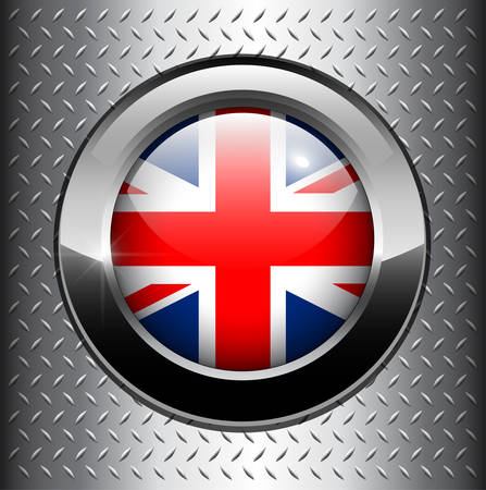 United Kingdom UK flag button on metal background  Vector