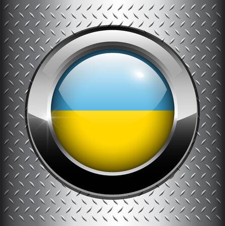 Ukraine flag button on metal background  Vector