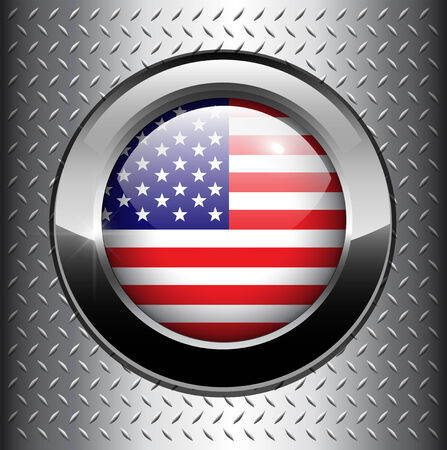 diamond plate: North American USA flag button on metal background