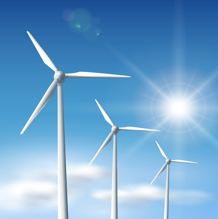 Wind turbines over blue sky with sun,   illustration. Vector