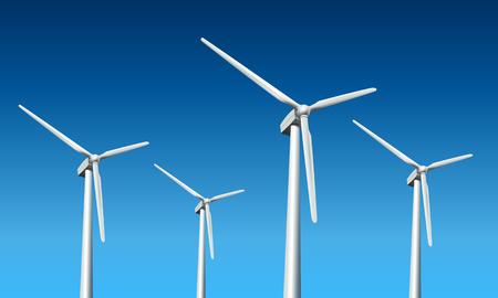 windpower: Wind turbines realistic  illustration,