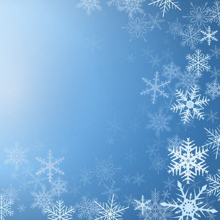 Winter background frozen with snowflakes