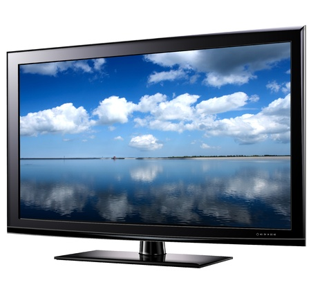 flat screen tv: Modern widescreen tv lcd monitor,  illustration.