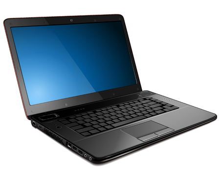 pc: Laptop, modern computer detailed   illustration.