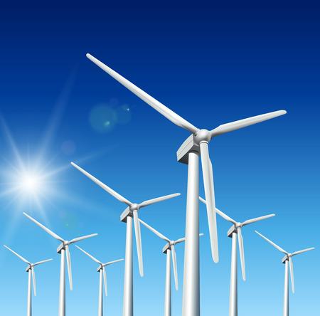 Vent par des groupes électrogènes, turbines au ciel bleu  Vecteurs