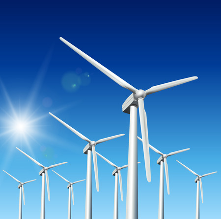 Wind driven generators, turbines over blue sky