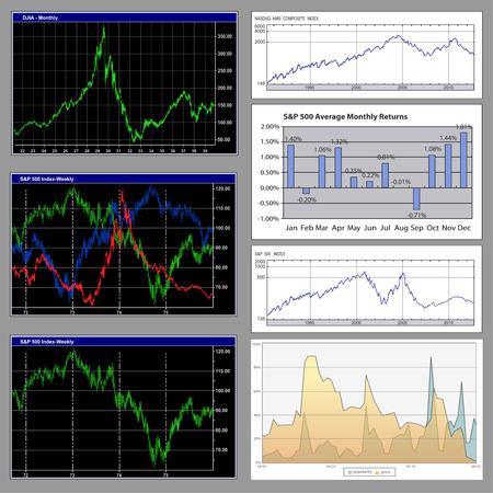 Stock-Diagramme und Business graphs detaillierte Auflistung