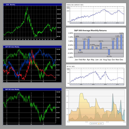 monitoring system: Stock diagrams and business graphs detailed collection Illustration