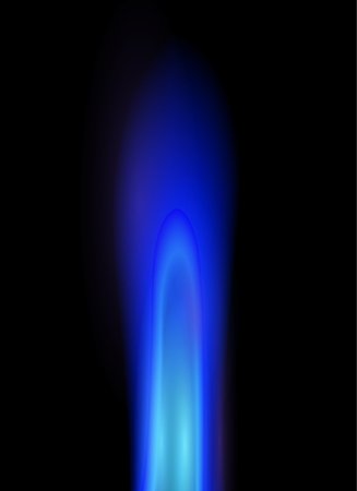 blue flame: Natural gas flame, illustration.