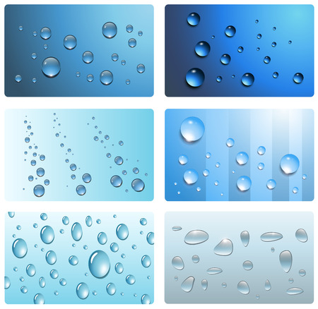 Water drops, wet cards collection.  Vector