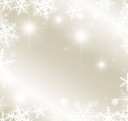 snowfalls: Light silver abstract winter background with snowflakes Illustration