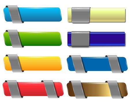 Banners de Web, los botones establecen vector de diseño detallado.