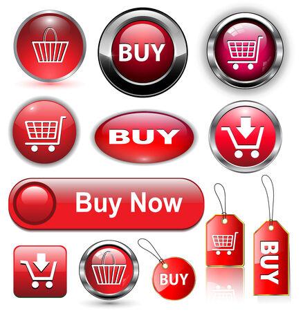 Comprar el conjunto de botones de iconos, ilustración vectorial.