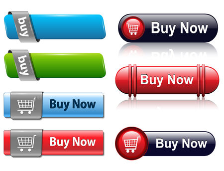 add icon: Buy buttons set for website, vector. Illustration