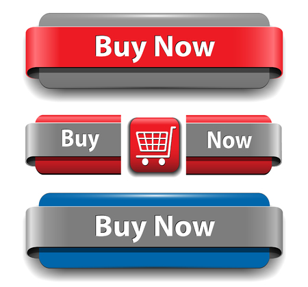 add button: Buy buttons set for website, vector. Illustration