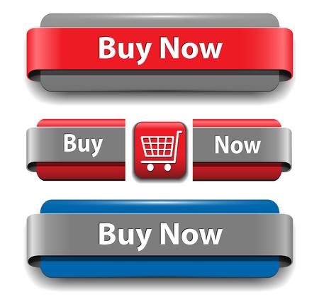 Conjunto de botones para el sitio Web de compra de vector. Ilustración de vector