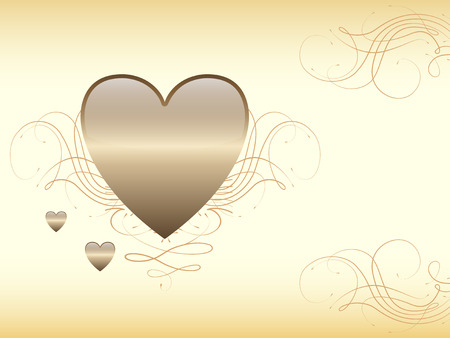 Romantic, love background with gold heart Vector