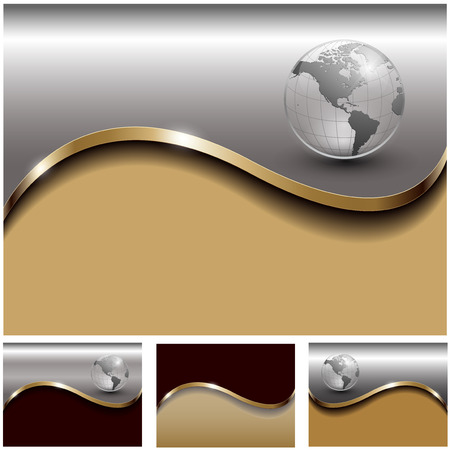 golden globe: Abstract business backgrounds gold and silver set