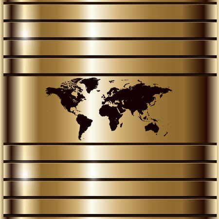 Business background gold with world map Vector