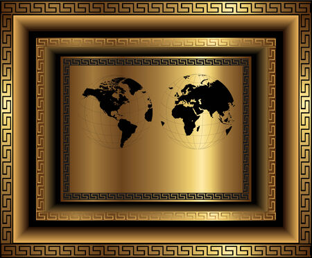 gold earth: Business background gold with ornaments and world map