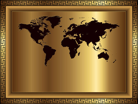 Business background gold with world map
