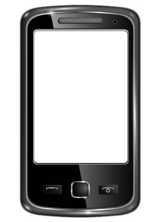 agenda electr�nica: Moderno tel�fono inteligente para la comunicaci�n m�vil con pantalla en blanco, ilustraci�n vectorial.
