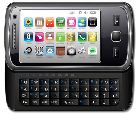 gadget: Smartphone, moderne T�l�phone mobile avec des ic�nes, illustration vectorielle.