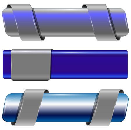 Banners, internet buttons modern metallic set, vector.