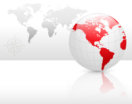corporate world: Abstract business background grey with earth globe, vector.