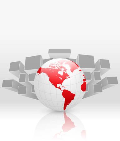 mirrored: Abstract business background grey with red earth globe, vector.