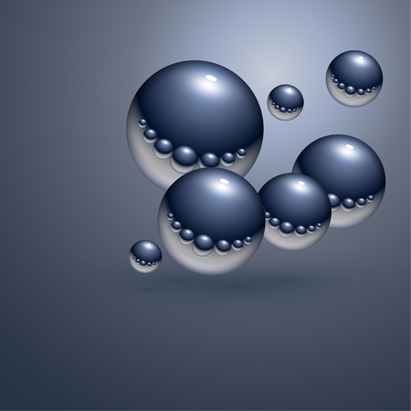 Abstract background floating steel, chrome balls  Vector