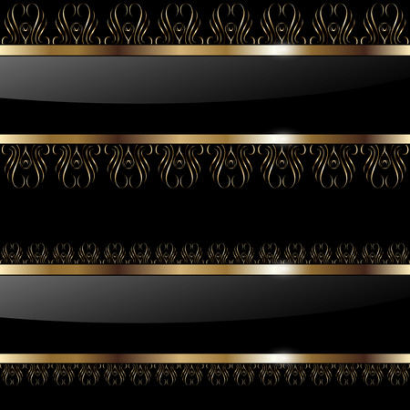 metallic banners: Abstract background gold banners on black,   illustration. Illustration