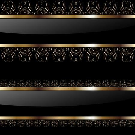 gold decorations: Banners de fondo abstracto oro en negro, ilustraci�n. Vectores