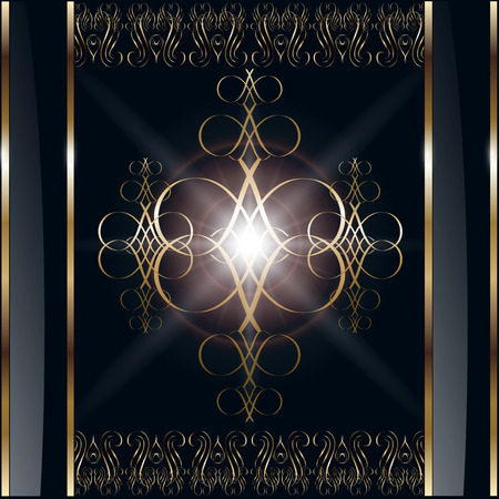 rococo: Abstract background with gold ornaments on black  Illustration