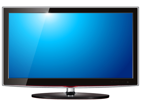 TV flat screen lcd, plasma realistic   illustration. Vector