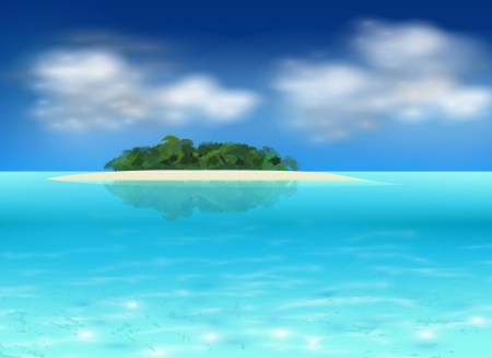 tropical island background, realistic illustration.
