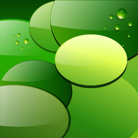 Green abstract background, circular leaves with dew  Stock Vector - 8710459