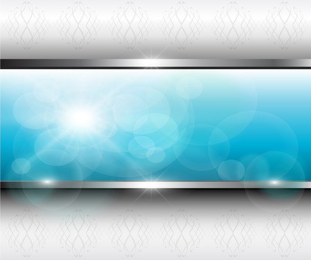 Abstract background blue banner on grey