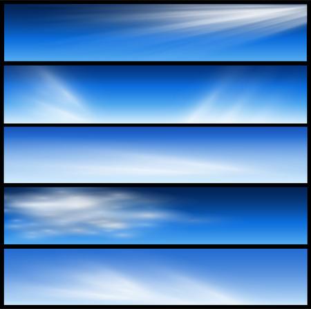 banner website: Banners, headers blauw wolken set
