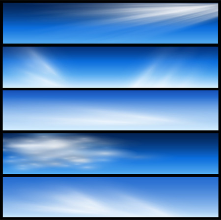 website header: Banners, headers blue clouds set  Illustration